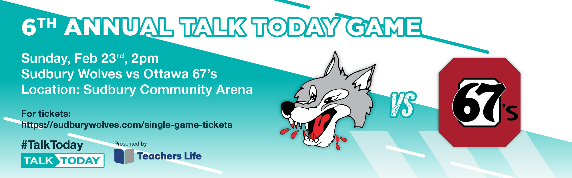 Sudbury Wolves to host mental health awareness game in partnership with CMHA Sudbury/Manitoulin, presented by Teachers Life
